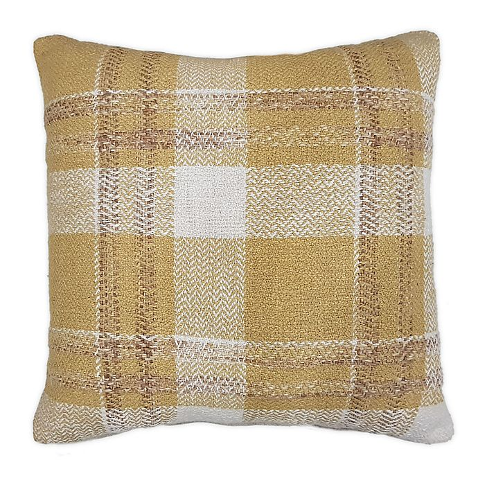 Alternate image 1 for Bee & Willow™ Home Checkered Square Throw Pillow in Gold