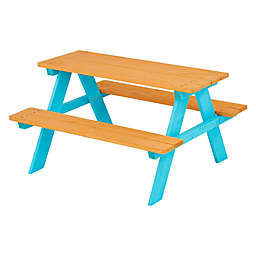 Teamson Kids Wood Picnic Table & Chair Set in Natural/Aqua