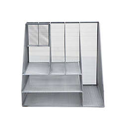 Mind Reader 8-Compartment Mesh Desk Organizer in Silver