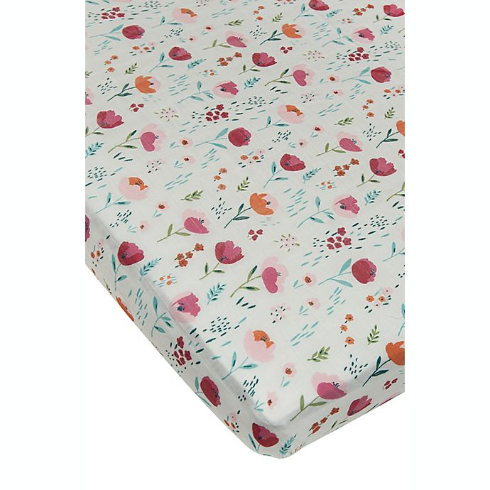 Alternate image 1 for Loulou Lollipop® Rosey Bloom Muslin Fitted Crib Sheet