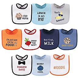 Hudson Baby® 10-Pack Muffin Drooler Bibs in Orange
