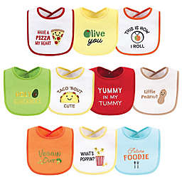 Hudson Baby® 10-Pack Pizza Drooler Bibs in Yellow