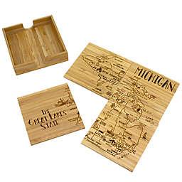 Totally Bamboo Michigan Puzzle 5-Piece Coaster Set