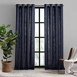 Mercantile Hawthorne 63-Inch Grommet Light Filtering Lined Window Curtain Panel in Navy
