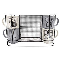 5-Piece Stacking Mug and Rack Set in Grey