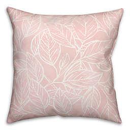 Blush Watercolor Leaf Pattern 18x18 Throw Pillow