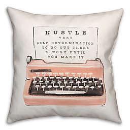 Blush Hustle Typwriter 18x18 Throw Pillow