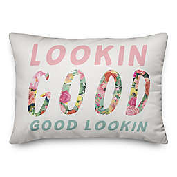 Looking Good Floral Words 14x20 Throw Pillow