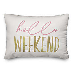 "Designs Direct ""Hello Weekend"" Printed Rectangular Throw Pillow in Pink/Gold"