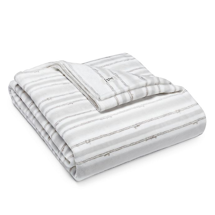Alternate image 1 for ED Ellen DeGeneres™ Block Stripe Ultra Soft Plush Blanket in Soft Grey