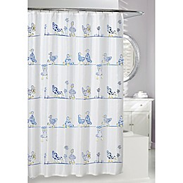 Moda at Home 72-Inch x 72-Inch A Duck's Life Shower Curtain in Blue/White