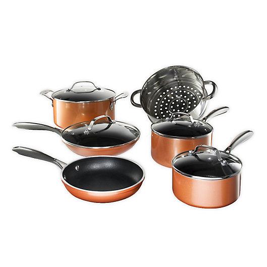 Alternate image 1 for Gotham™ Steel Copper Cast Textured Nonstick Aluminum 10-Piece Cookware Set