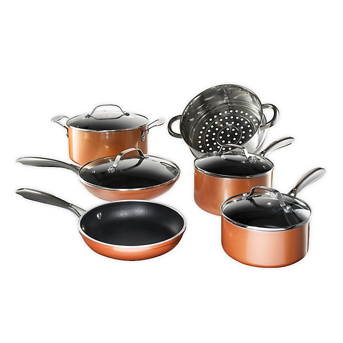 Alternate image 1 for Gotham™ Steel Copper Cast Textured Nonstick Aluminum 10-Piece Cookware Set