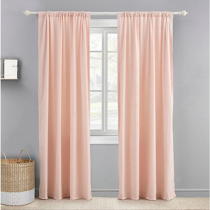 Alternate image 1 for Levtex Baby® Herringbone 84-Inch Window Curtain Panel in Pink