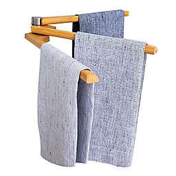 Wall Mounted Bamboo 3-Arm Towel Bar