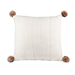 Bee & Willow™ Home Chunky Knit Pom-Pom Square Throw Pillow in Cream