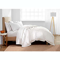 Under the Canopy® Italian Hem Stitch Organic Cotton 3-Piece Full/Queen Duvet Cover Set in White/Grey