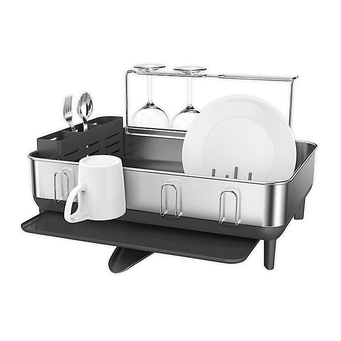 Alternate image 1 for simplehuman® Stainless Steel Frame Dish Rack in Grey