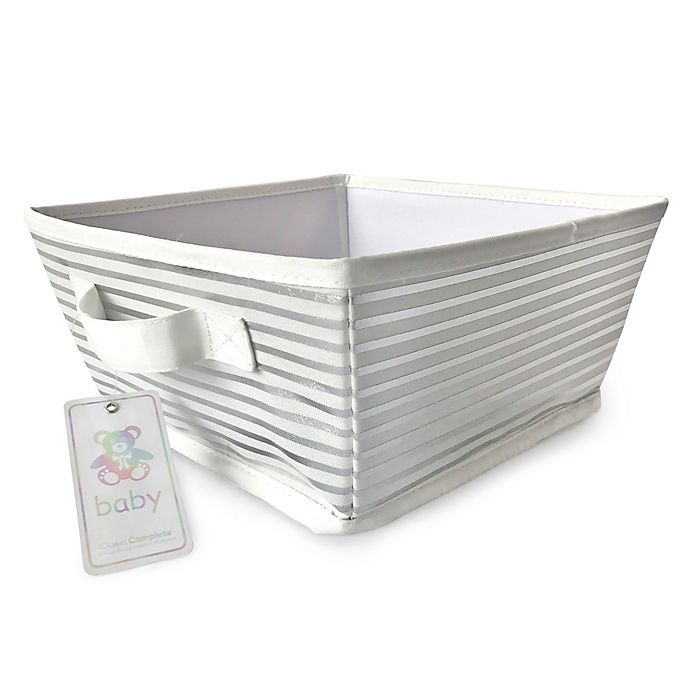Alternate image 1 for Closet Complete Stripe Canvas Diaper Caddy in Silver