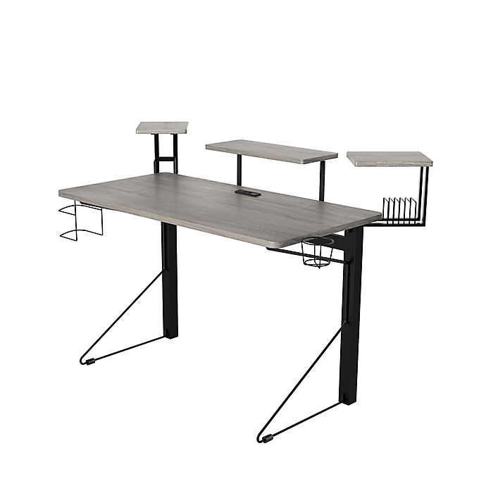 Alternate image 1 for Jamesdar® Core Computer Gaming Desk with Power in Grey/Black