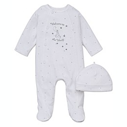 "Little Me® 2-Piece ""Welcome to the World"" Footie and Hat Set in White"