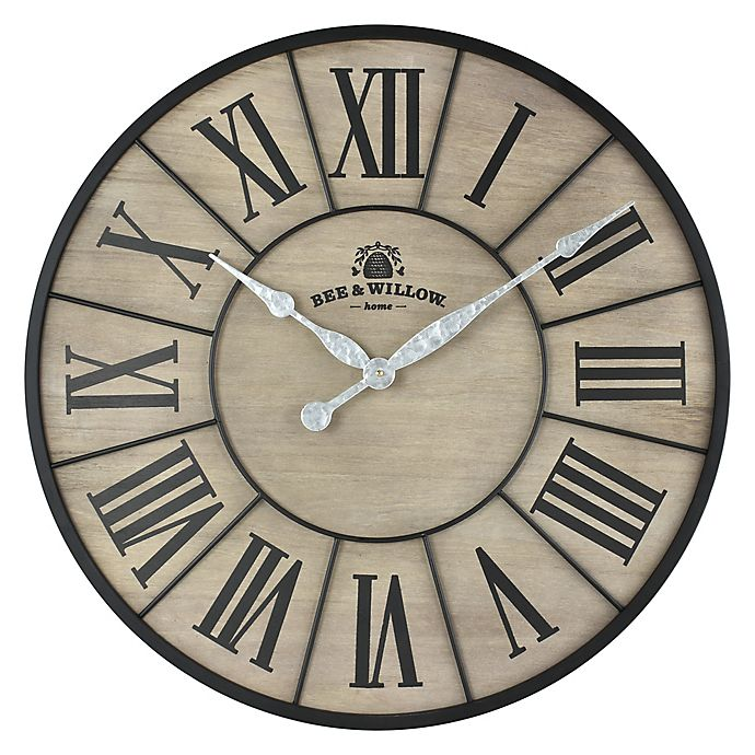 Alternate image 1 for Bee & Willow™ Home 26-Inch Round Wall Clock in Rustic Grey/Black