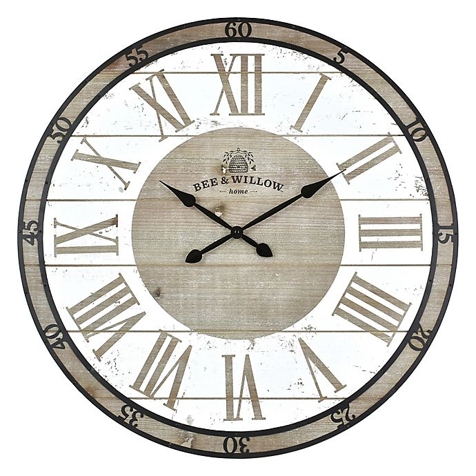 Alternate image 1 for Bee & Willow™ Home 29-Inch Round Wall Clock in Rustic Grey/White