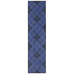 "Mohawk Home Russell Plaid 2'6"" x 8' Runner in Medium Blue"