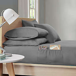 Intelligent Design Microfiber Storage Pocket Twin XL Sheet Set in Charcoal