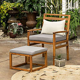 Forest Gate™ Patio Wood Chair and Ottoman in Brown