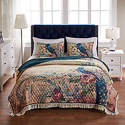 Barefoot Bungalow Eden Peacock 2-Piece Reversible Twin/Twin XL Quilt Set in Ecru
