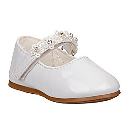 Laura Ashley® Mary Jane Shoe with Flower Strap in White