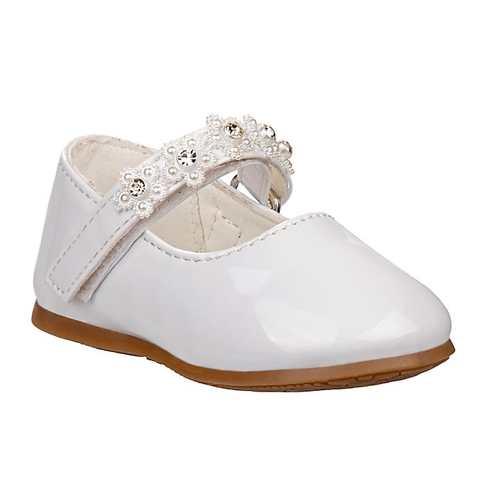Alternate image 1 for Laura Ashley® Size 5 Mary Jane Shoe with Flower Strap in White