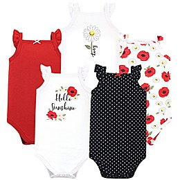 Hudson Baby® 5-Pack Poppy Daisy Short Sleeve Bodysuits