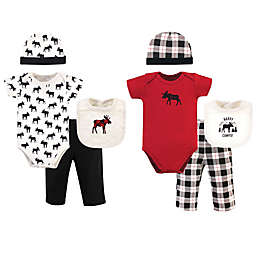 Hudson Baby® Size 0-6M 8-Piece Moose Bodysuit, Pant, Cap, and Sock Gift Set in Red/White