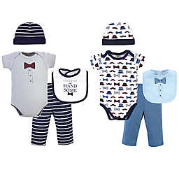 Little Treasure Size 0-6M 8-Piece Charming Bodysuit, Pant, Cap, and Sock Set in Blue/Grey