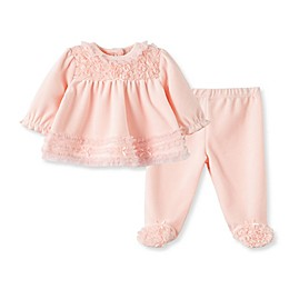 Little Me® 2-Piece Rosette Velour Tunic and Footie Pants Set in Pink
