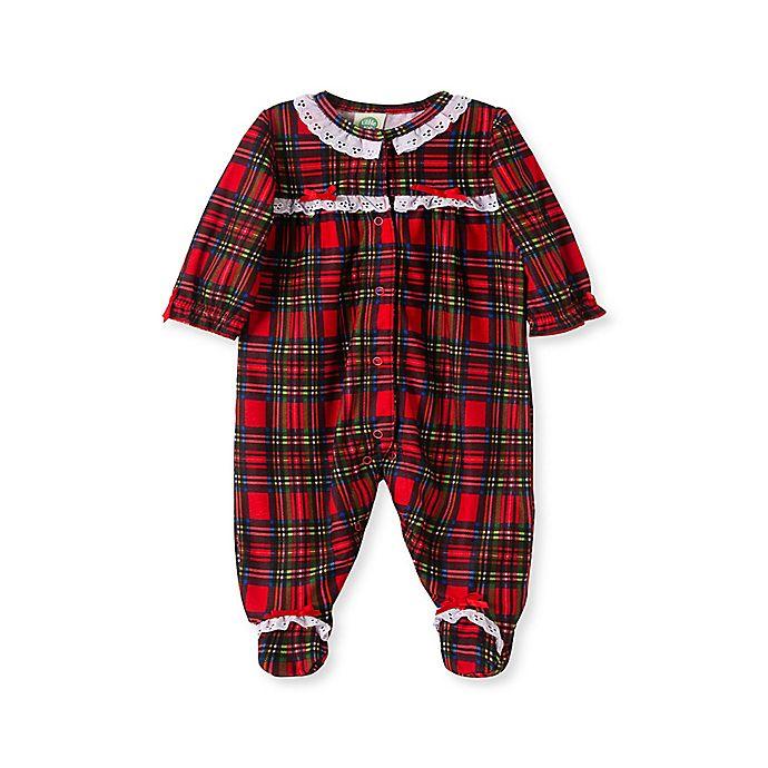 Alternate image 1 for Little Me® Girl's Plaid Footie Pajamas