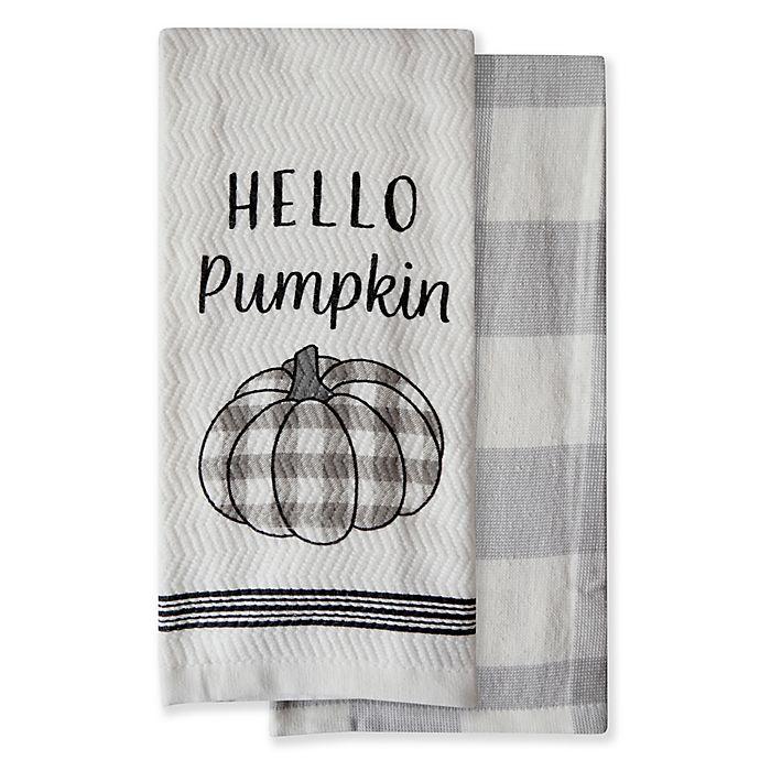 Alternate image 1 for Harvest Hello Pumpkin Kitchen Towels (Set of 2)