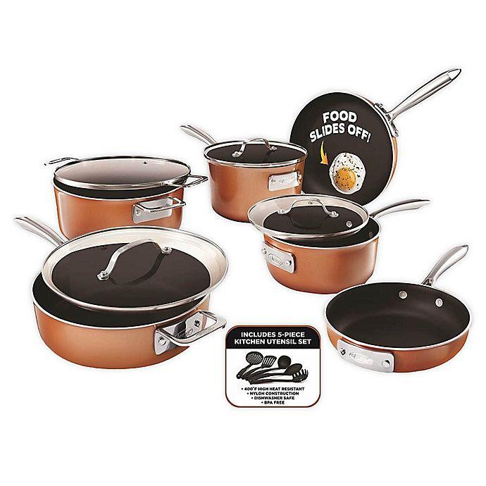 Alternate image 1 for Gotham™ Steel Stackmaster Nonstick Aluminum 15-Piece Cookware Set in Copper/Black
