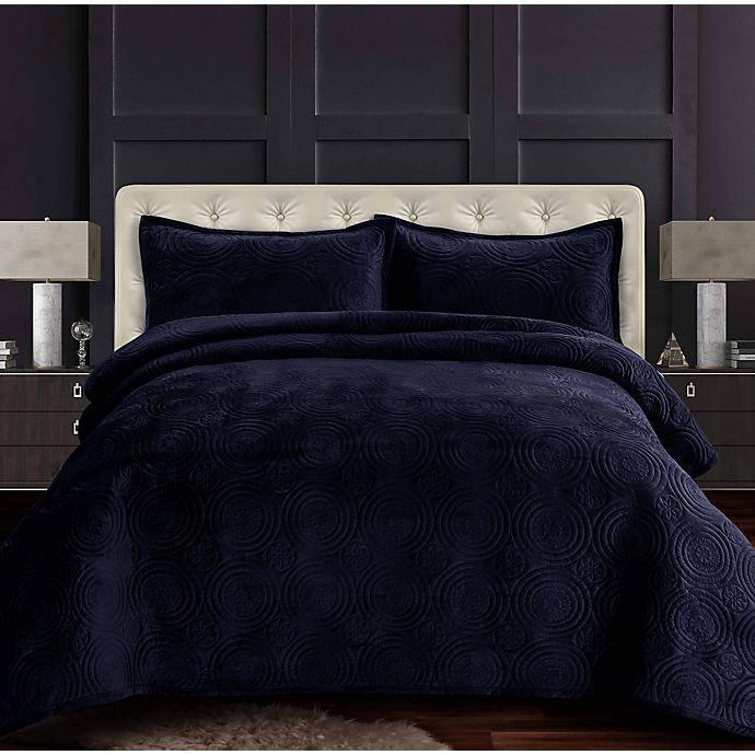Alternate image 1 for Tribeca Living Capri Velvet Oversized 3-Piece Quilt Set