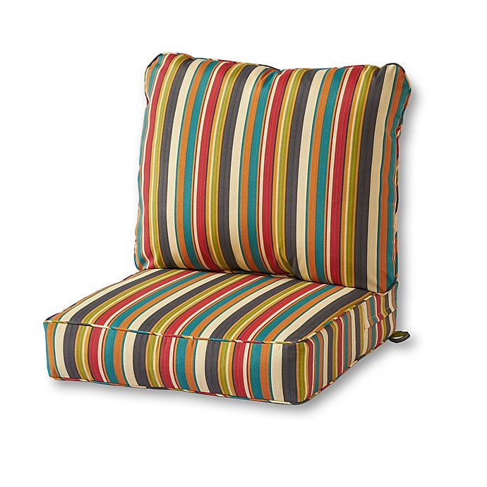 Alternate image 1 for Greendale Home Fashions Stripe 2-Piece Outdoor Deep Seat Cushion Set