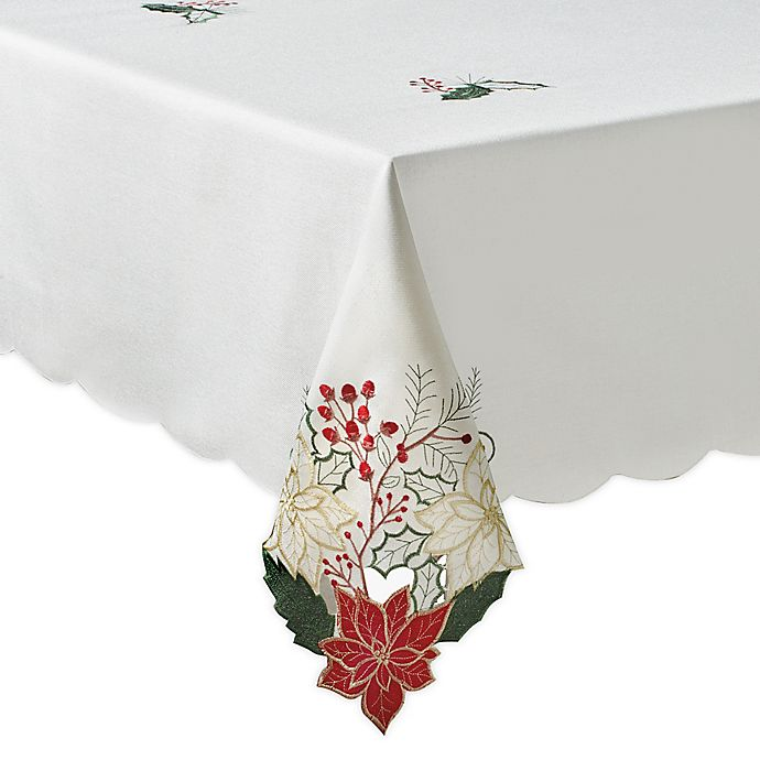 Alternate image 1 for Woodland Poinsettia Tablecloth