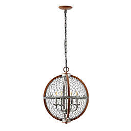 JONATHAN Y Gaines 4-Light Pendant in Brown/Silver