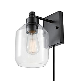 Globe Electric Middleton Plug-In/Hardwire Wall Light in Bronze with Glass Shade