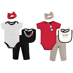 Little Treasure Size 0-6M 8-Piece Classy Bodysuit, Pant, Headband, and Bib Gift Set in Red/White
