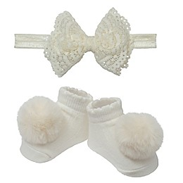 So 'dorable Ivory Lace Bow Headband and Bootie Set