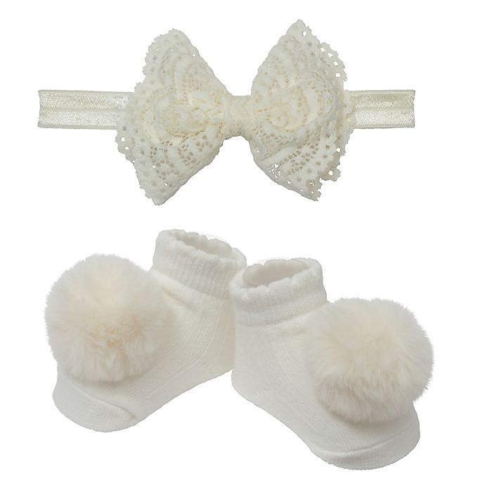 Alternate image 1 for So' Dorable Ivory Lace Bow Headband and Bootie Set