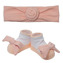 So' Dorable Pink Turban Knot Ribbed Headband and Bootie Set