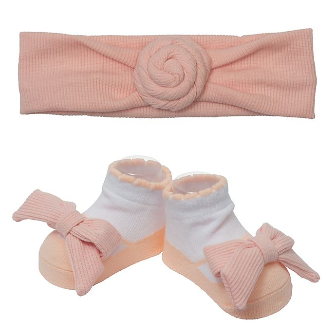 Alternate image 1 for So' Dorable Pink Turban Knot Ribbed Headband and Bootie Set